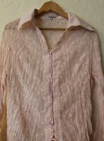 BANDOLERA Pink Lace Up Shirt Blouse Top Crinkle Sheer Embroidered Size 18