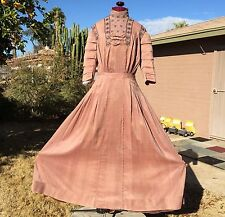 Antique Edwardian Evening Dress Rosy Brown Pleats Tucks Lace Bows Tiered Sleeves