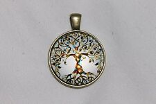 Living Tree of Life 25mm Glass Cabochon Pendant Necklace Bronze