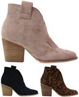 Abby-03 Women Western Short Ankle Pointed Toe Booties Boots Side Zipper Heel