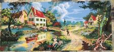 Vtg Very Large Completed Diamant Tapestry Idyllic Countryside Village & River