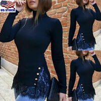 Women Slim Lace Hem Tops Blouse Ladies Long Sleeve Turtleneck Sweater Pullover