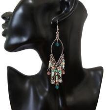 Drop Silver-Tone Hook Earrings 801489 Womens Bohemian Random Multi-Beads Dangle