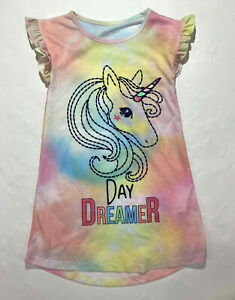 St. Eve Girls Pink Yellow Unicorn Day Dreamer Short Sleeved Nightgown