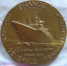 MED8299 - MEDAILLE PAQUEBOT FRANCE 1962 Cie GENERALE TRANSATLANTIQUE par COEFFIN