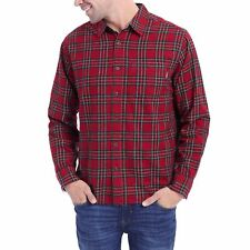 01f287ae Mens Eddie Bauer L/s North Pole Red Plaid Flannel Shirt Size S Small