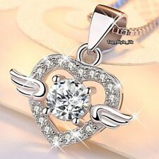 Angel Wings Diamond Heart Necklace Silver 925 Birthday Presents for Her Girls Z3