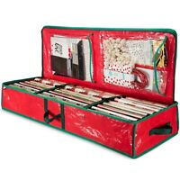 """Underbed Holiday Gift Wrap Storage Box Fits 18-24 Rolls 40"""" Long Red"""