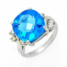Estate ring 7.0 ct Blue Topaz and diamond 14k gold