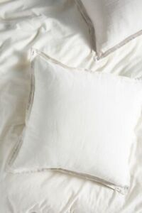 NEW ONE Anthropologie Relaxed Cotton Linen Euro Shams Natural Stripe Pillow