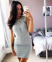 New Asos Ladies Bodycon Grey Silver Embellished Neckline Mini Dress Womens  ❤