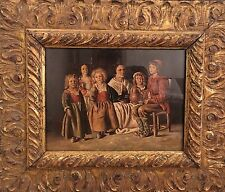 Fine Dutch Style Interior Scene Old 20th C Oil Painting, Antique Style Frame
