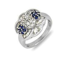 Women's Natural Sapphire & High Element Sim Diamond 14k SOLID Gold Ring