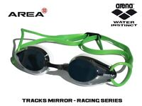 ARENA TRACKS RACING SWIMMING  GOGGLES, GREEN,  MIRRORED, TRAINING GOGGLE