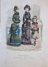 1881 MODA ITALIANA Damine Margherita Treves Editore litografia design costume