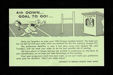 >1964 University of Oregon Ducks FOOTBALL SEASON TICKET REMINDER CARD w/Mascots!