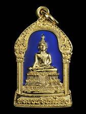 THAI AMULET BUDDHA LP WAT RAIKHING BLUE ENAMEL PENDANT DECORATIVE NECKLACE GIFT