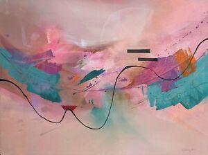 """Abstract Watercolor Art 30x32"""" Gregory Deane"""