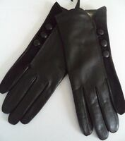 Ladies Angora Blend Lined Genuine Leather Gloves,Small/Black