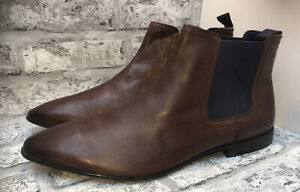 ASOS MENS REAL BROWN LEATHER CHELSEA BOOTS SIZE 13 UK 47 EUR