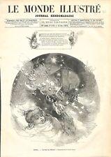 Noël La Nuit de l'Enfant Enfance Dessin de Edmond Morin GRAVURE OLD PRINT 1876