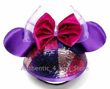 Disney Parks Purple and Pink Sequin Minnie Mouse Ear Hat Cap with Bow!