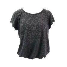 SJS Womens Blouse Black Short Sleeve Scoop Neck Rhinestone Top Petites XL