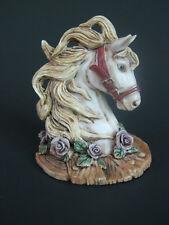 Vintage Horse Head /Animal Figurine-Flying Mane/ Purple Roses- Direct Connection