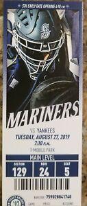 Aaron Judge HR #100 ALL RISE 8/27/2019 Mariners Yankees Full MINT Ticket homerun