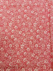 "Vintage Fabric cotton Print Pink white 1950s 45"" L x"