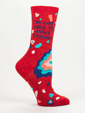 Women's Crew Socks, Not Here To Make Friends, Blue Q Cotton Funny Novelty Gifts