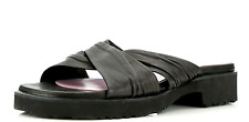 Taryn Rose Thora Black Leather Slide Sandals 7156 Size 40.5 EU NEW! Italy