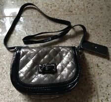 NEW WITH TAGS GUESS PEWTER BLACK PATENT CROSS BODY MINI  PURSE