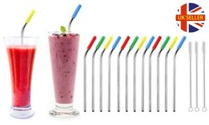 12 Pack Reusable Stainless Steel Straws with Silicone Tips and Cleaning Brushes