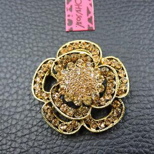 New Gold Rhinestone Flower Crystal Betsey Johnson Charm Brooch Pin