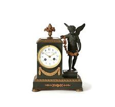 19th Century French Gilt and Patinated Bronze Figural Mantel Clock