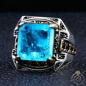 Mens Natural Paraiba Tourmaline Gemstone Handmade Wedding Ring Vintage Jewelry