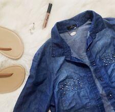 Denim Light Weight Jacket Button Down Shirt Womens L Studs