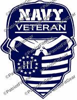 Navy Veteran,Navy,3%,Veteran,Hooyah,Molon Labe,Skull,Veterans First,Vinyl Decal