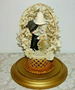 Antique Bisque Kewpie Huggers Cake Topper - Protective Glass Diorama Vintage