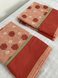 Pair Target Casual Home Orange Embroidered Floral Standard Pillow Shams Cotton