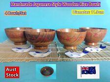 Japanese Style Handmade Wooden Rice Bowls Dinner Set (New) - 4 pcs/set (B150)