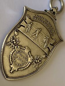 Antique1917 Scottish Bailie Shield Football League Pocket Watch Chain Fob Medal
