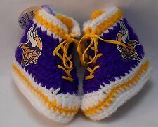 Custom Handmade Crochet Minnesota Vikings Football Purple High Tops Baby Booties
