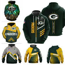 Green Bay Packers Hoodie Football Pullover Sweatshirt Hooded Jacket Fan's Gift