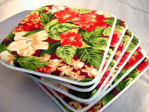 6 Beautiful Patio Lawn Chair Seat Pad Cushions Tropical Hibiscus Floral