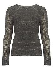 Womens Knitted Jumper Top Black Grey Black Long Sleeves Ladies New Size UK 8-14