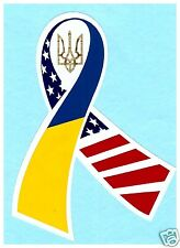 Ukrainian Car Truck Bumper Sticker Ribbon Ukraine-USA Flag Tryzub Trident