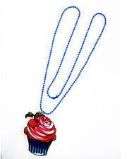 Darkside Cherry On Top Cupcake Cake Swirl Pendant Blue Ball Chain Necklace