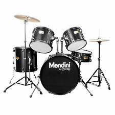 MENDINI BLACK 5 PIECE COMPLETE ADULT DRUM SET POPLAR SHELL W/ CYMBAL & HARDWARE